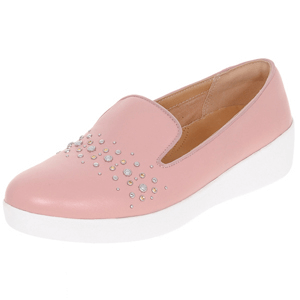 Fitflop - Audrey Pearl Stud Leather Loafers, Rose Pink