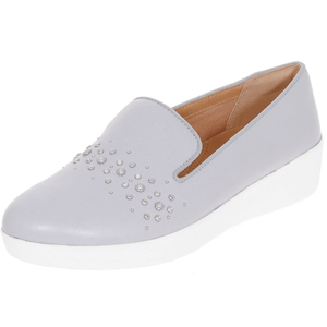 Fitflop - Audrey Pearl Stud Leather Loafers, Grey