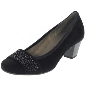 Gabor - 482.17 Suede Court Shoe, Black