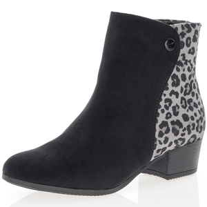 Jana - Soft Line 25374 Ankle Boot, Black Leopard