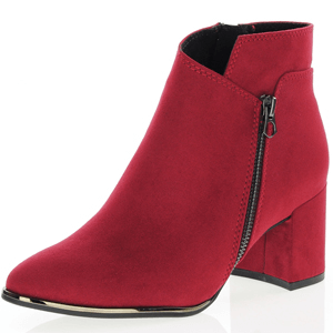 Marco Tozzi - 25015 Black Heel Ankle Boot, Red