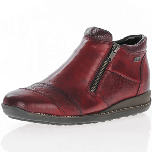 Rieker - 44281-35 Double Zip Ankle Boot, Burgundy