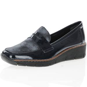 Rieker - 53732-14 Low Wedge loafer, Navy