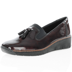 Rieker - 53751-35 Low Wedge Loafer, Burgundy