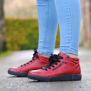 Ara - 14435 Lace Up Ankle Boots, Red
