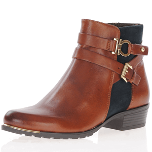 Caprice - 25309 Leather Ankle Boots, Cognac- Ocean