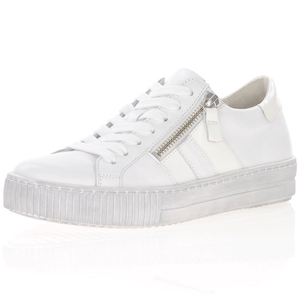 Gabor - 360.21 Twin Zip Leather Trainers, Off White