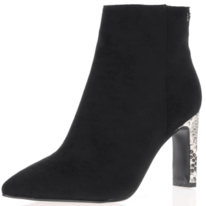 Hannah B - 0162 Black Heeled Ankle Boot with Snake Print