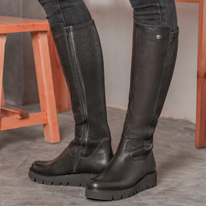 Remonte - R8071-01 Leather Knee Boots, Black