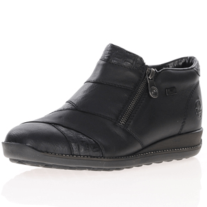 Rieker - 44271-00 Double Zip Ankle Boots, Black
