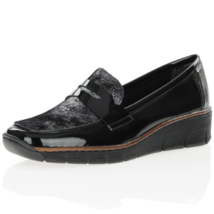 Rieker - 53732-01 Low Wedge Loafer, Black