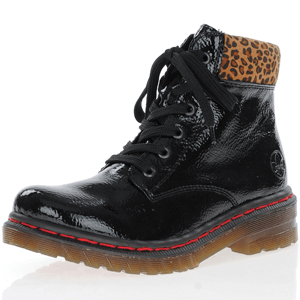 Rieker - 76212-00 Patent Lace Up Boots, Black