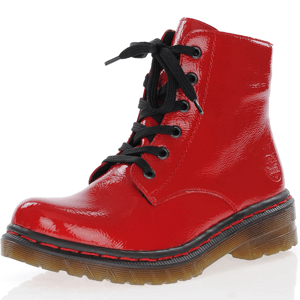 Rieker - 76240-33 Patent Lace Up Boots, Red