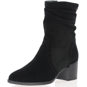 Tamaris - 25023 Suede Slouch Boots, Black