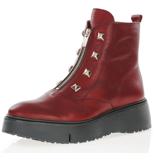 Wonders - A-9301 Front Zip Platform Boots, Red