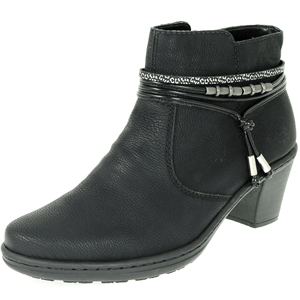Rieker - 54953-00 Heeled Ankle Boot, Black