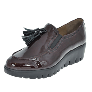 Wonders - C-3386 Patent Wedge Loafer, Plum