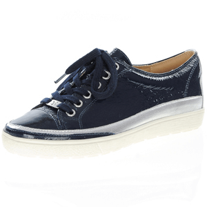 Caprice - 23654 Patent Lace Up Trainer, Navy