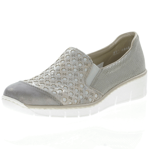 Rieker - 537W4-40 Low Wedge Shoe, Grey