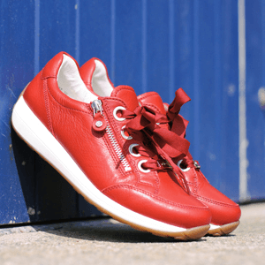 Ara - 34587 Leather Trainer, Red