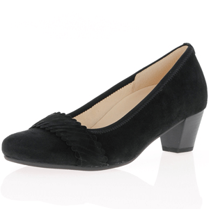 Gabor - 183.47 Suede Court Shoe, Black