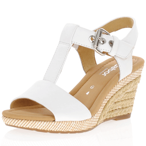Gabor - 824.50 Leather Wedge Sandal, White