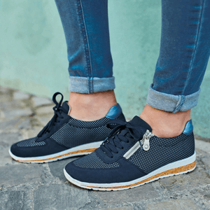 Rieker - N5121-14 Side Zip Trainers, Navy