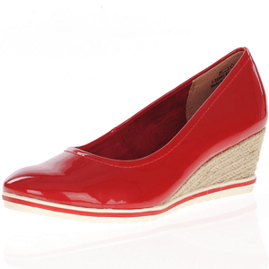 Tamaris - 22441 Patent Wedge Espadrille, Red