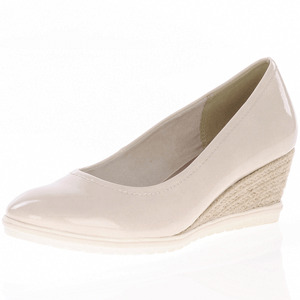 Tamaris - 22441 Patent Wedge Espadrille, Cream
