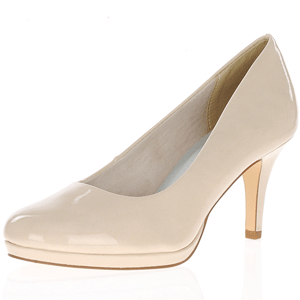 Tamaris - 22444 Court Shoe, Cream Patent