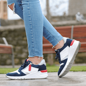 Tamaris - 23702 Low Wedge Trainers, White - Navy