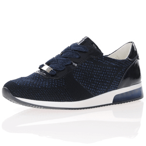 Ara - 24069 Fusion Woven Metallic Trainer, Navy