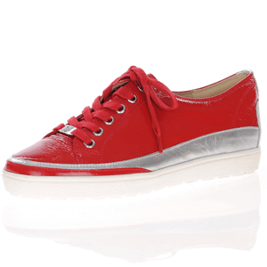 Caprice - 23654 Patent Lace Up Trainer, Red