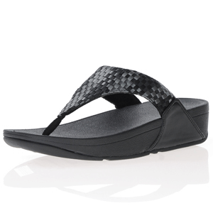 Fitflop - Lulu Silky Weave Toe Post Sandals, Black