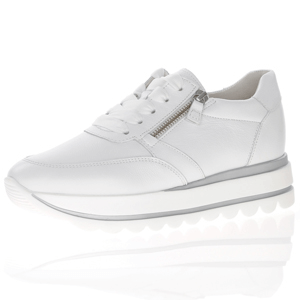 Gabor - 410.21 Leather Flatform Trainer, White