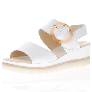 Gabor - 645.21 Leather Low Wedge Sandal, White
