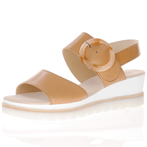 Gabor - 645.22 Leather Low Wedge Sandal, Tan