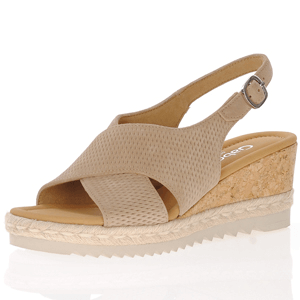 Gabor - 831.33 Leather Sling Back Wedge Sandal, Sand