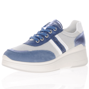 Igi & Co - 7159000 Leather Low Wedge Trainer, Blue