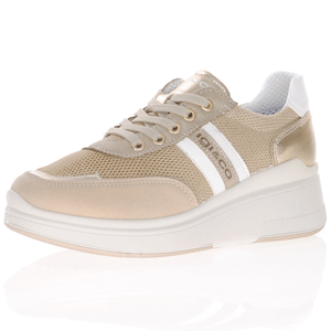 Igi & Co - 7159022 Leather Low Wedge Trainer, Gold Beige