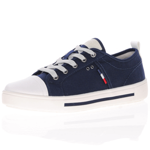 Jana - 23664 Classic Wide Fit Canvas Trainer, Navy