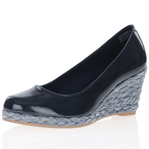Marco Tozzi - 22440 Patent Wedge Espadrille, Navy