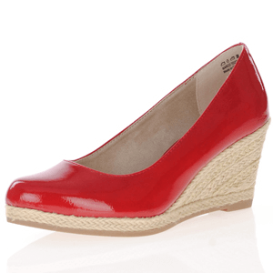 Marco Tozzi - 22440 Patent Wedge Espadrille, Red