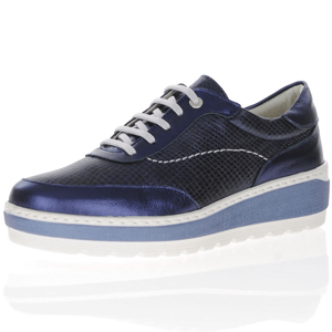 Notton - 281320 Leather Platform Brogues, Metallic Navy