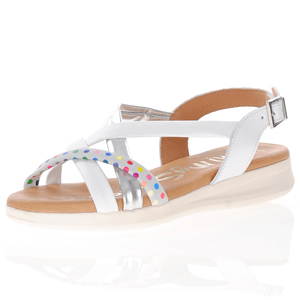 Oh My Sandals - 4827 Leather Cross Strap Sandals, White