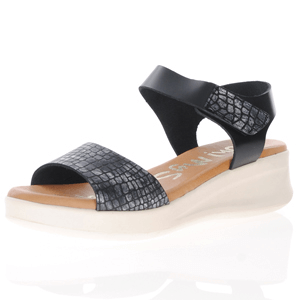 Oh My Sandals - 4836 Leather Low Wedge Sandals, Black