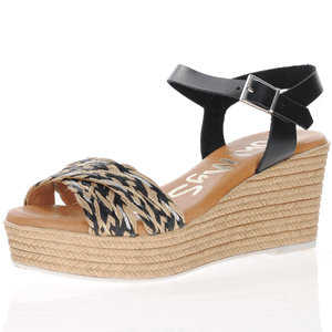 Oh My Sandals - 4865 Leather Wedge Sandals, Black
