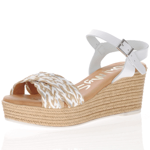 Oh My Sandals - 4865 Leather Wedge Sandals, White