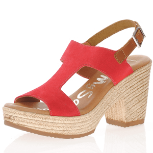 Oh My Sandals - 4883 Block Heeled Suede Sandals, Red