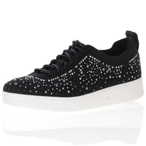 Fitflop - Rally Ombre Crystal Knit Trainer, Black